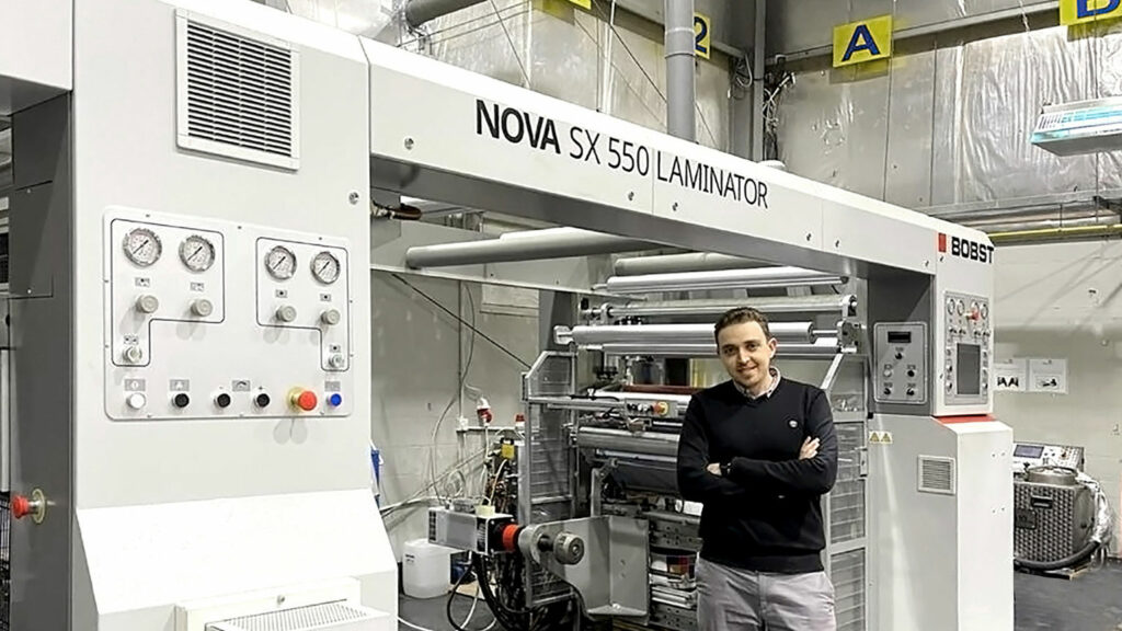 Mr Mohammad Sabha, Plant Manager and Executive Engineer of Digital Labels Jordan in front of the NOVA SX 550 laminator
